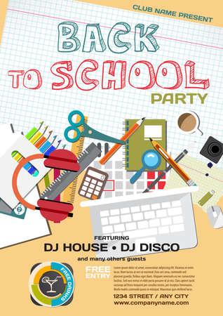 school meeting: Vector school party invitation disco style. Meeting of graduates, high school students. School items, stationery