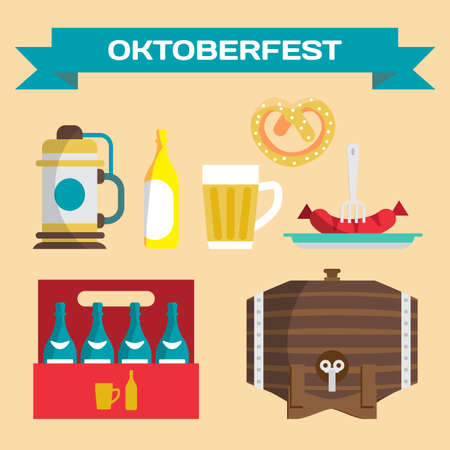 types of glasses: Vector set of icons in a flat style for Oktoberfest. Different types of beer, cups, bottles, glasses, sausages, pretzels Illustration