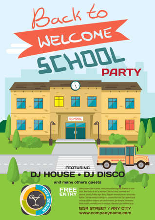 high school students: Vector school party invitation disco style. Meeting of graduates, high school students. Building in park with bus on the background of the city