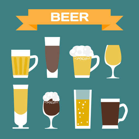 ale: Set of beer glassware. Flat cartoon vector illustration. Wheat, lager, craft, ale Illustration