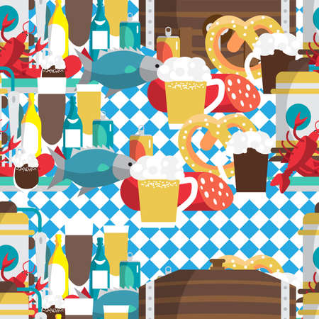 oktoberfest food: Textile seamless pattern flat cartoon style for Oktoberfest. Food, drink, beer, mug, cancer, dried fish, sausage Illustration