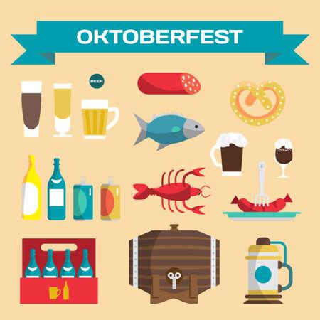 oktoberfest food: Vector set of icons in a flat cartoon style for Oktoberfest. Food, drink, beer, mug, cancer, dried fish, sausage Illustration