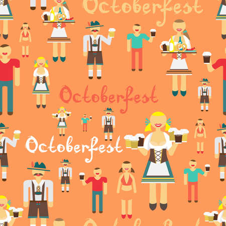 national costume: Textile seamless pattern flat cartoon style for Oktoberfest. Men drink beer out of large mugs. German women in national costume. Girl waitress with a tray
