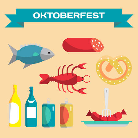 oktoberfest food: Vector set of icons in a flat cartoon style for Oktoberfest. Food, drink, cancer, dried fish, sausage Illustration