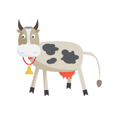 milk production: Cow with a bell around his neck. Cattle-breeding, the production of milk and beef. Cartoon flat isolated vector illustration