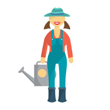 overalls: Woman farmer in denim overalls and a hat with a watering can in hand. Cartoon flat isolated vector illustration Illustration