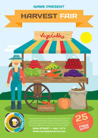 produce: Vegetables trade fair flyer. Agriculture exhibition poster. Farmer woman produce shopkeeper. Fresh  vegetables, retail business owner working in his store. Cartoon flat vector illustration Illustration