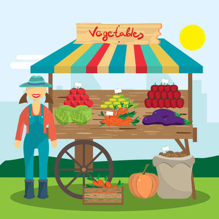produce: Cultivation of organic products on the farm. Farmer woman produce shopkeeper. Fresh  vegetables, retail business owner working in his store. Cartoon flat vector illustration