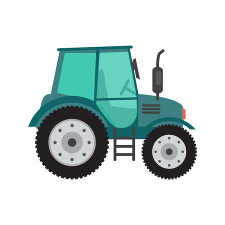 agronomics: Green tractor on white background. Farming and agriculture equipment. Cartoon flat vector illustration isolated on white background