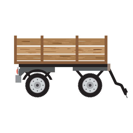 corny: Tractor trailer for bulk materials. Agricultural machinery rural, equipment machine for farming, transport harvesting industry. Cartoon flat isolated vector illustration