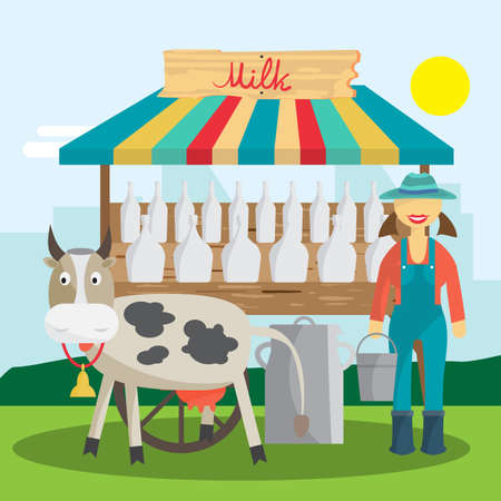 Farmer selling milk products in local market. Woman produce shopkeeper. Fresh dairy, retail business owner working in his store. Cartoon flat vector illustration
