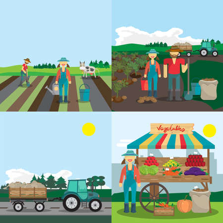 family gardening: Activities farm family. The process of planting, growing vegetables and selling them. 4 steps. Cartoon flat vector illustration Illustration