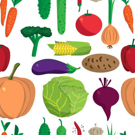 cucurbit: Textile seamless pattern flat cartoon vegetables. Organic healthy food. Harvest autumn agriculture background