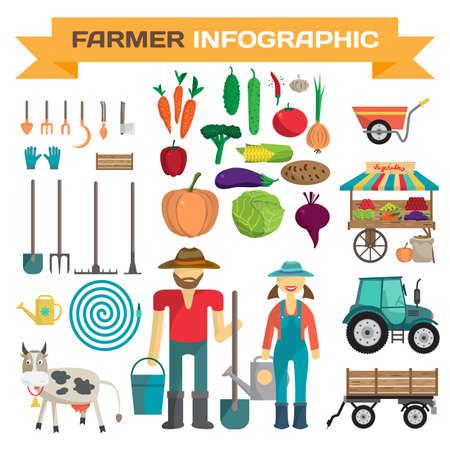 labranza: Gran conjunto de elementos de la granja de dibujos animados y personajes. Las personas, herramientas, animales de granja, coches, vehículos aislados en blanco. ilustración vectorial de dibujos animados plana Vectores