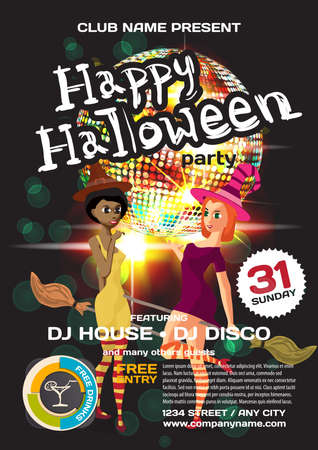 helloween: Vector helloween party invitation disco style. Night club, dj, women, disco ball template  posters or flyers.