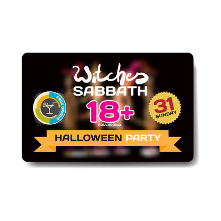 striptease: Vector private helloween party invitation disco style. Girls in the show is not in focus. Template flyers Illustration
