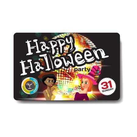 helloween: Vector helloween party invitation disco style. Night club, dj, women, disco ball template flyers. Illustration