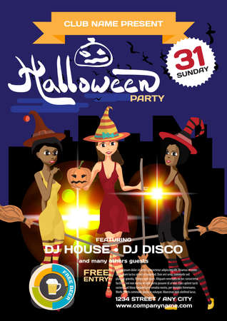 helloween: Vector helloween party invitation disco style. Three girls in the witch costume on the background of the city at night. Template posters or flyers