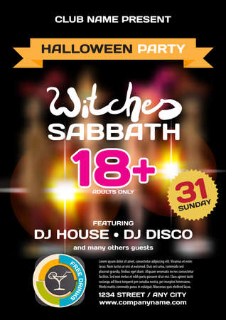 private party: Vector private helloween party invitation disco style. Girls in the show is not in focus. Template posters or flyers