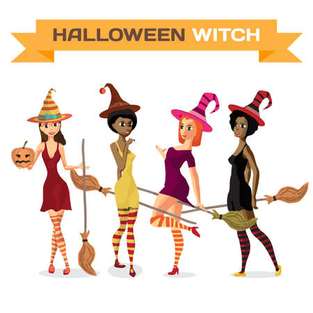 white stockings: Set of beautiful girls witches in dress, hat and stockings with a broom and pumpkin. Vector flat cartoon illustration isolated on a white background