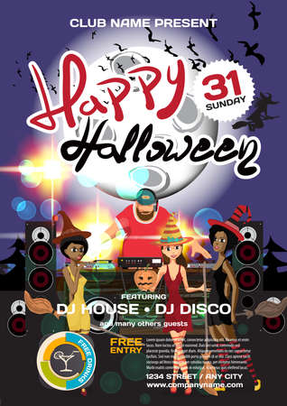helloween: Vector helloween party invitation disco style. Night club, dj, women, disco ball moon, template posters or flyers Illustration