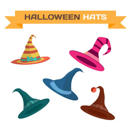 Set of multi-colored hats for Halloween. Vector flat cartoon illustration isolated on a white background Illustration