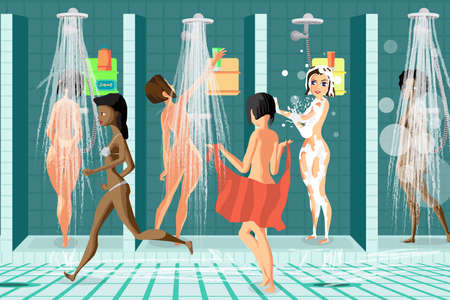sauna nackt: Innenansicht der Dusche am Pool Sportverein. Frauen waschen in den Duschen im Spa-Salon. Vector flache Karikatur Illustration Illustration