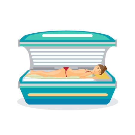 Young woman tanning in solarium. Vector flat cartoon illustration isolated on a white background