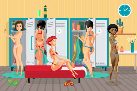 healthy woman: Womens locker room in the spa salon. Girls dress in the dressing place a fitness club. Vector flat cartoon illustration Illustration