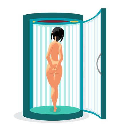 La mujer joven desnuda bronceado en solarium vertical. Ilustración vectorial de dibujos animados plana aislado en un fondo blanco