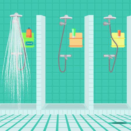 Intérieur de la salle d'eau au club de sport. douches publiques à la piscine. Vector plate illustration de bande dessinée