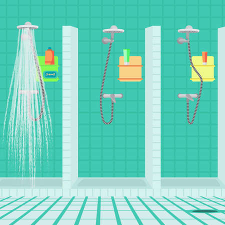 showers: Interior of the shower room at the sports club. Public showers at the swimming pool. Vector flat cartoon illustration