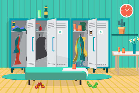 dressing: Interior of a gym locker room. Dressing place a fitness club. Vector flat cartoon illustration