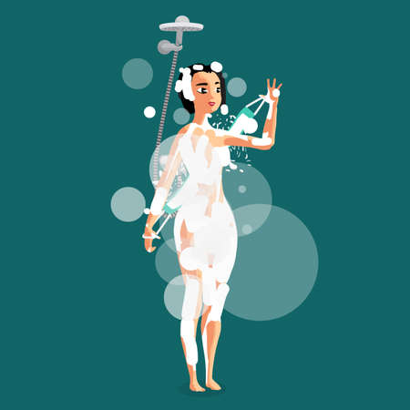 Woman below the shower bath. Young brunette girl has refreshment in shower. Water jet, lather and vapor bathroom in isolated background. Vector flat cartoon illustration