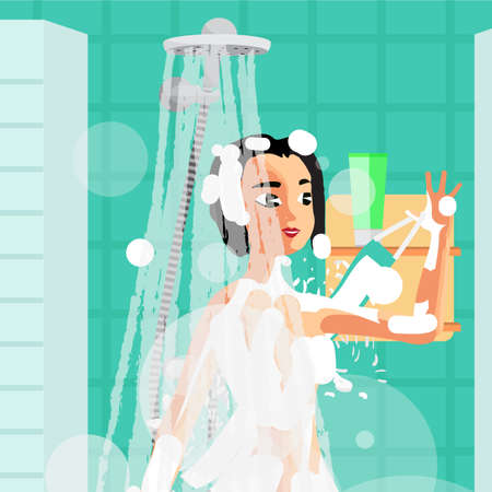 woman washing hair: Young woman washing herself with a sponge in the shower. Girl under the stream of water to clean with wisp. Vector flat cartoon illustration