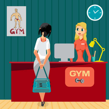 Young girl receiving clint at the reception of a gym. Woman in interior sport club. Vector flat cartoon illustration