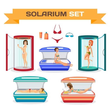 glowing skin: Set of woman tanning in solarium. Essential accessories. Vector flat cartoon illustration isolated on a white background