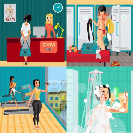 Interior de la gimnasia concepto banners. Recepción, vestuarios, gimnasio y sala de ducha. La mujer va en los deportes. Vector ilustración de dibujos animados plana