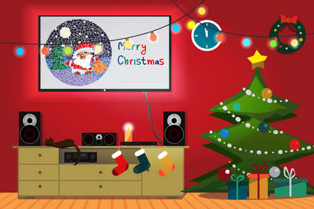 christmas room interior christmas tree gift socks and decoration tv loudspeakers