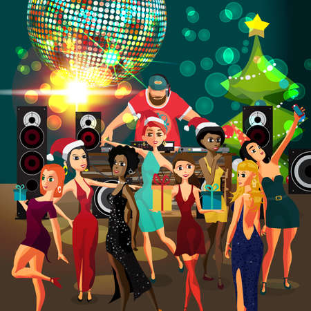 Vector Christmas New Year party invitation disco style. Club, dj with sound system, crowd women in festive dresses. Vector template party poster invitations or flyers
