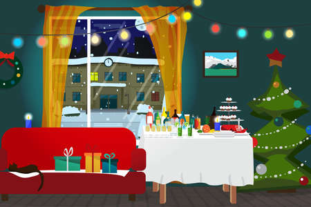 buffet: Christmas room interior. Christmas tree, buffet table, gift and decoration. View at night snowy street. Flat cartoon vector illustration