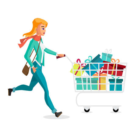 Young blonde woman running with a trolley on Black Friday, the day before Christmas. Cartoon style vector illustration isolated on white background