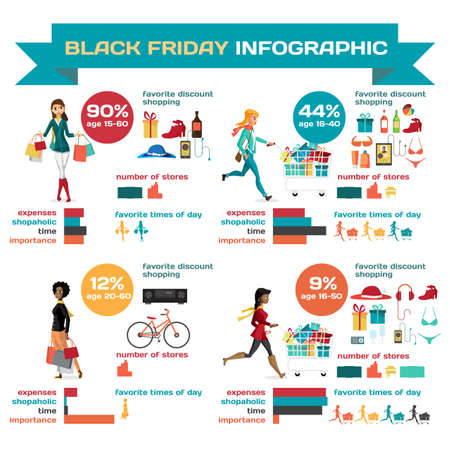 shopaholic: Infographic with shopaholic woman running with a trolley on Black Friday. Cartoon style vector illustration