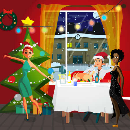 Home Party New Year or Christmas. Christmas tree, buffet table, gift and decoration. View at night snowy street. Flat cartoon vector illustration