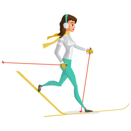 cross country: Pretty young woman on cross country skiing on isolated background. Flat cartoon vector illustration Illustration