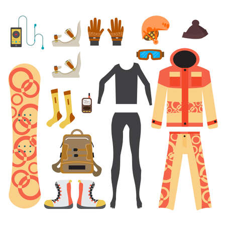 Snowboard sport clothes and tools elements. Flat cartoon vector illustration Illustration