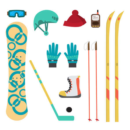Winter sport different accessories snowboard, cross-country skiing, ice hockey. Flat cartoon vector illustration