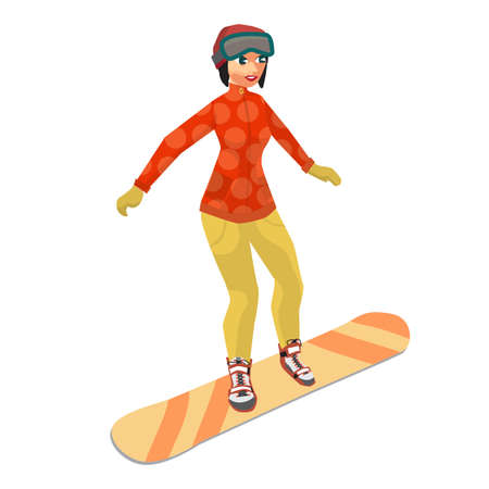 novice: Woman snowboarding in mountains. Winter sports vacation concept. Flat vector illustration isolated on white background
