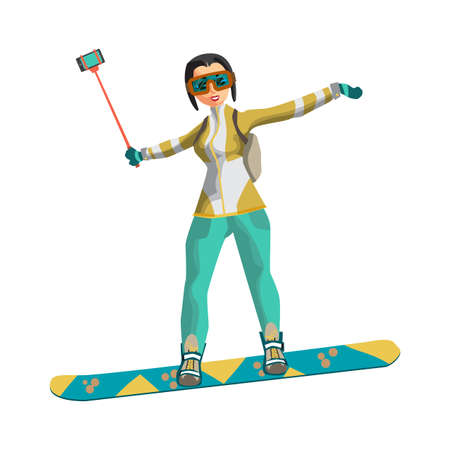 Woman snowboarding in mountains with a stick for a selfie. Winter sports vacation concept. Flat vector illustration isolated on white background Illustration