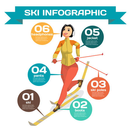 crosscountry: Infographic with woman cross-country skiing winter sports. Cartoon style vector illustration Illustration
